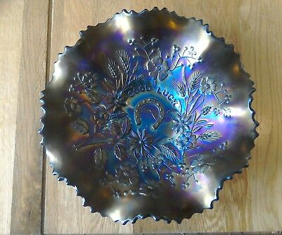 "8"" Carnival Glass Good Luck Bowl Perfect"