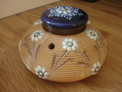 Stunning Royal Doulton Lambeth Stoneware Decorative Floral Inkwell Ink