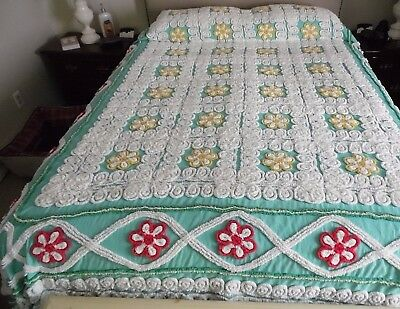 "Beautiful Vtg Colorful Plush Chenille Queen Size Bedspread ~ 91"" x 100"""