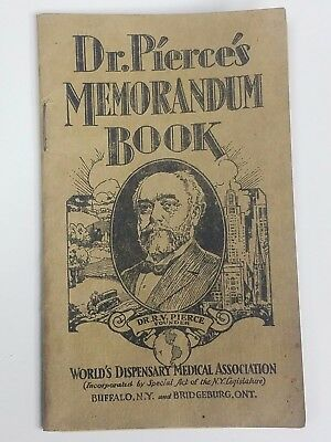 1929-30 Dr. Pierce's Memorandum Book Dispensary Medical Buffalo Quackery