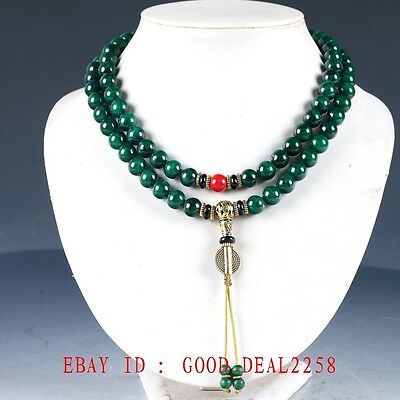 100% Natural Jade &Red Coral &Brass Handwork Carved Decoration Necklaces XL078