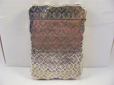 Beautiful decorated solid silver card case, Birmingham 1859, Alfred Taylor