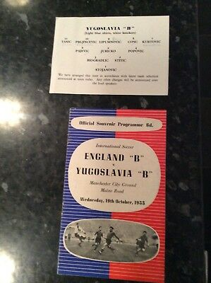 England B V Yugoslavia B 19.10.1955 Played At Manchester City With Team Sheet
