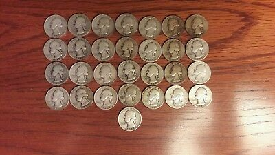 $7.25 Face Value Washington Quarters 90% Silver, Lot of 29 Quarters (Circulated)