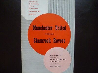 Manchester United v Shamrock Rovers October 1957 European Cup