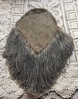 "Victorian Silver color beaded fabric purse remnant~ with 4"" FRINGE"