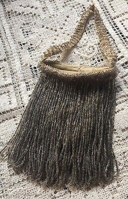 "Victorian Silver color beaded fabric purse ~ with 4"" FRINGE"