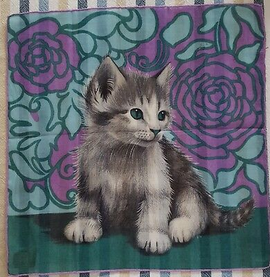 Ladies Lehner Swiss Handkerchief Kitten / Cat Floral Pattern - Nwot