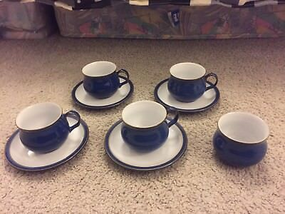 New!! Denby imperial blue coffee espresso cups, saucers, sugar bowl. Unused!!