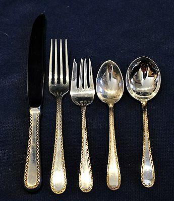 Golden Winslow By Kirk Sterling Flatware Set For 8 With Servers