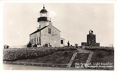 VTG POSTCARD LIGHTHOUSE OLD SPANISH LIGHT POINT LOMA Cabrillo CA RPPC PHOTO