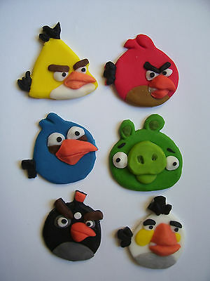 ANGRY BIRDS set of 6 edible cake cupcake decorations