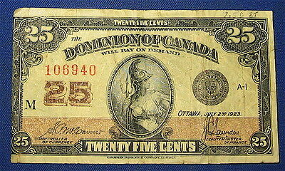 1923 Dominion of Canada 25 Cent Banknote Shinplaster * OFF CENTER