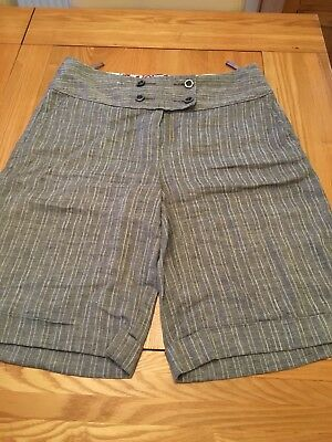Per Una linen Grey Shorts Stripe Size 12