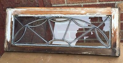 Vintage Transom leaded glass window Spiderweb Pattern Partial Bevel