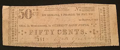 Scarce 1817 US Griswold Worthington Fractional 50 Cent Banknote