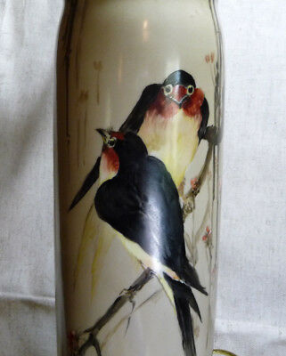 """Antique Limoges France Aesthetic Era TALL Hand Painted Birds Asian Vase Lamp 12"""""""