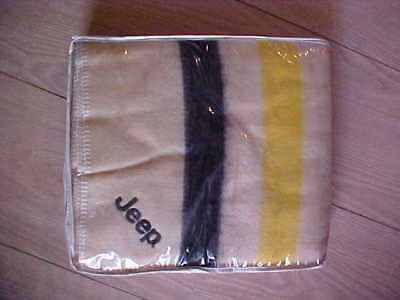 Fabrio wool JEEP blanket made in USA ~ estate find stored only unused condition