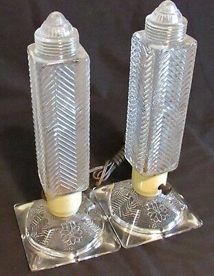 Matching Pair - Art Deco Glass Torpedo Skyscraper Bullet Lamp