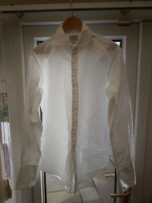 T M Lewin Mens Formal Two-Fold 100% White Cotton Shirt 16 inch neck double cuffs