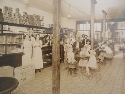 Antique Original Photograph Of People Gathered In A General Store