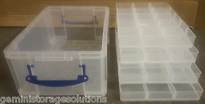 Really Useful Clear 9 Litre Box + 4 Hobby Trays