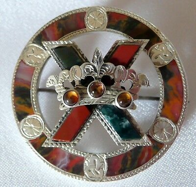 A Stunning Antique Victorian Scottish Silver & Agate Brooch