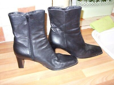 Ladies Black Leather Ankle Boots Size 7 Riva Brand