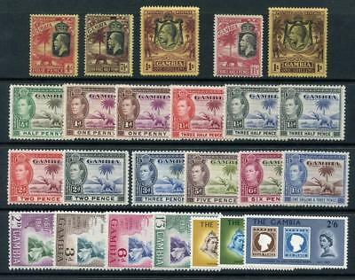 Gambia GV 1922 - 1929 Crown CA to 1/-, Script CA to 1/-, GVI Values etc. MM, MNH