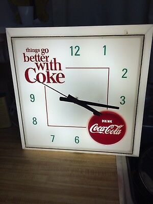 Vintage 1960s Coca Cola Lighted Wall Clock With Second Hand