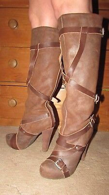 Ladies Brown Suede Blackmail Knee High Strap & Buckle Boots UK size 8 EU 41