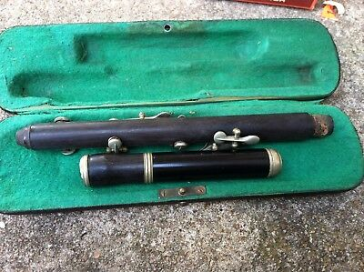 "Antique OPEN HOLE Piccolo Flute 2 pieces ""Silver""/Wood Germany  CASE-OLD!!!"