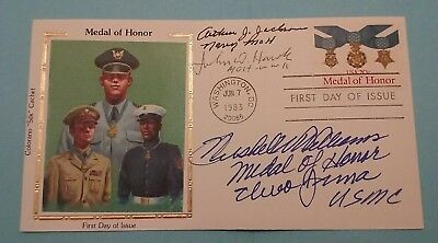 Ww2 Cmoh  Winners  Silk  Fdc Signed By 3 !  Army ,navy  &  Marine , Rare !