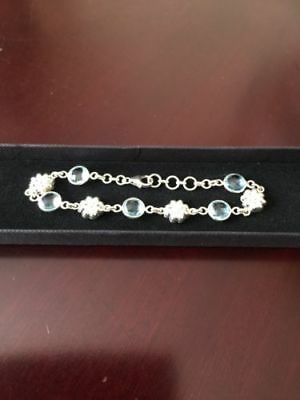 Blue Topaz And Silver Flower Bracelet New With Tags And Box November Birthday