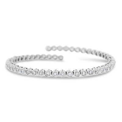 5 Ct. Natural Diamond Bezel Set Tennis Bangle Stretch In Solid 18k White Gold