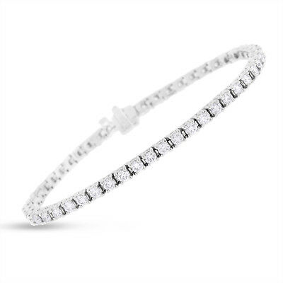 4.43 CT Natural Diamond Round Tennis Bracelet in Solid 14k White Gold