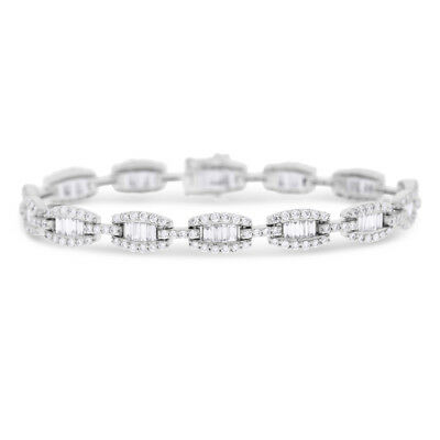 4.22 Ct. Natural Baguette & Diamond Tennis Bracelet In Solid 18k White Gold
