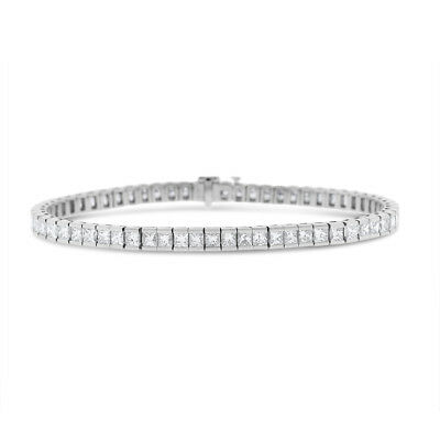 6.81 Ct. Natural Superfine Diamond Princess Cut Tennis Bracelet In Solid 18k Whi