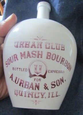 Pre Prohibition Urban Club Sour Mash Bourbon Quincy Il Illinois handled jug KT&K