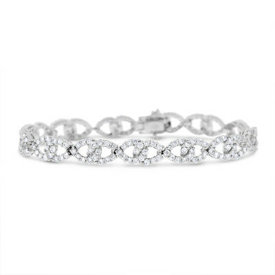 5.82 Ct. Natural Diamond Infinity Interlocking Bracelet In Solid 18k White Gold