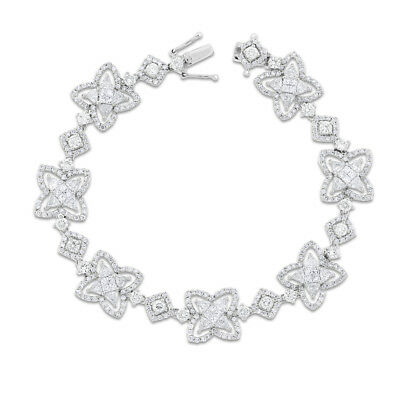 6.23 Ct. Natural Superfine Diamond Star Design Bracelet In Solid 18k Yellow Gold