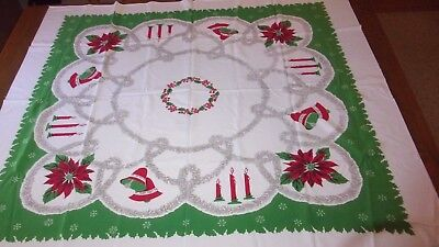 Vintage Christmas Tablecloth Hand Print Stamp Garland Bell Candle Poinsettia
