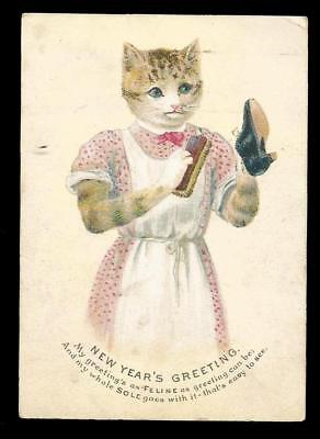 U95 - Anthropomorphic Cat Cleaning Shoe - Victorian New Year Card