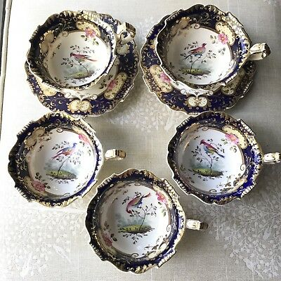 Gorgeous Antique Unmarked Chelsea Bird Tea Cups - Booths?