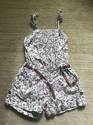 Girls Next Floral Playsuit Age 5 Years With Belt  Vgc