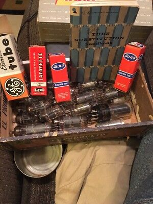 Lot Of 32 Untested Radio Tubes + 1966 Tube Substitution Book