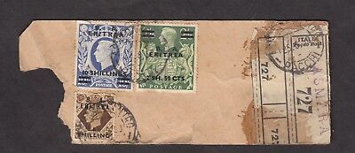 BOIC - KGV 1950 - ERITREA - Parcel Tag with Stamps - High Values - ASMARA Cancel