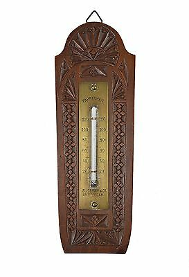 Vintage Frisian Chip Carved Fahrenheit Thermometer. Dutch, Netherlands.
