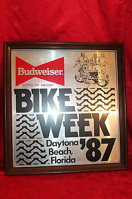 1987 Daytona Bike Week Budweiser Mirror  / harley davidson sign / motorcycle