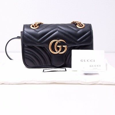 f9ac26e14 GUCCI 1590$ Authentic New Black Leather GG Marmont Matelassé Mini Shoulder  Bag